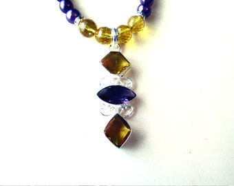 Amethyst and Citrine Necklace, Sterling Silver Citrine and Amethyst Pendant and Glass Bead Necklace