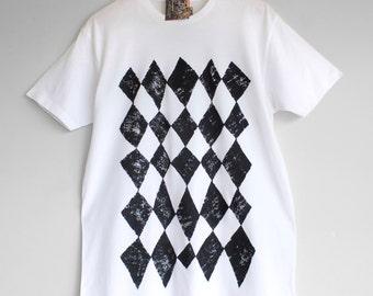 BLACK HARLEQUIN. 100% cotton T shirt. Hand painted. Graphic t-shirt. Black and white t-shirt.