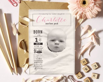 Newborn Baby Announcement - Digital File to Print or Printed Announcements with Free Shipping