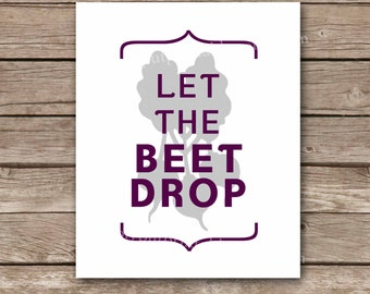 Let the Beet Drop Funny Modern Kitchen Wall Art   Vegetable Kitchen Print Decor   Let the Beat Drop Printable 8x10 Instant Download