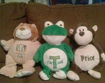 Personalized, embroidered stuffed animal, plush, softie, toy
