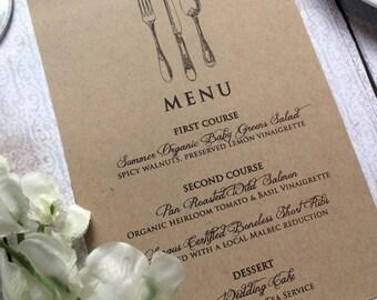 Wedding Menu Card - Vintage Inspired Wedding Menu Cards - Rustic Wedding Kraft Dinner Menus - Shabby Chic Menus with Vintage Silverware