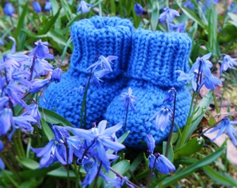 Blue baby slippers knitted baby booties royal blue shoes booties for baby boy MADE TO ORDER
