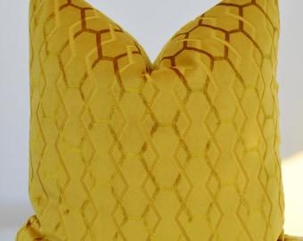 Mustard Velvet  Pillow Cover,Geometric Velvet Pillow Cover