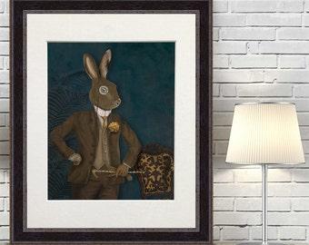 Hare wall Art - Dapper Hare After Dark  - hare print hare painting hare art country art country home décor hare illustration wall decor