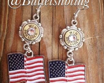 American Flag Bullet Casing Earrings