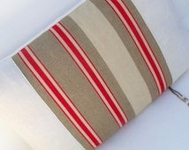 French linen Grain sack Red Taupe Vintage Hemp stripe Large Pillow Cushion Coussin