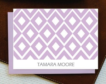 Personalized Stationery / Stationery Set of 10 Note Cards with envelope / RHOMBUS - Thank You Cards