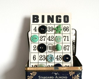 Vintage button collection retro bingo card of 1940s & 1950s buttons
