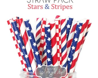 Red, White, Blue, Paper Straws, Party Decor, Cake Pop, Party, July 4th, Independence Day, Patriotic, Summer, Stars & Stripes, Holiday,