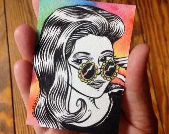 Original ACEO Art Card, Girl with Flower Sunglasses, Groovy Mod Hippie 1960s Style, Ink Drawing with Watercolor by Laurie A. Conley