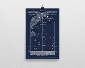 Celestial Print Sky Map January, Star Chart, Constellations Northern Hemisphere, Pole Star