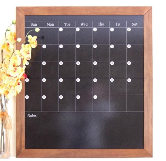 Chalkboard Calendar Framed : Large w notes magnetic dry erase custom framed chalkboard look