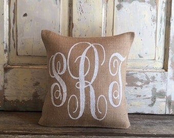 Burlap Pillow - Monogram pillow | Bridesmaids & Wedding gifts | Baby Shower Gift | Nursery pillow | Mother's Day Gift | Graduation Gift