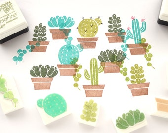 Succulent plant stamps, Kawaii cactus, Fleshy plants rubber stamp, Japanese stationery, Gift for her, Christmas gift idea, House plant stamp