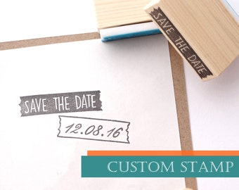 Save the date custom rubber stamp, Wedding invitations, Japanese stationery, Washi tape style