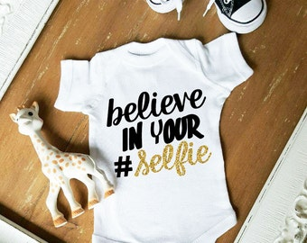 Believe in Your # Selfie Gold and Black Glitter Bodysuit One Piece Baby Girl