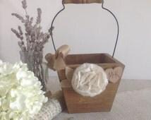 Rustic wood flower girl basket, flower girl bucket, personalized flower girl pail, ivory and burlap ribbon