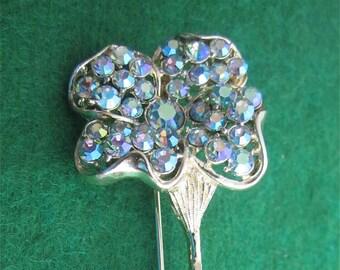 Beautiful Large Coro Floral Aurora Borealis Rhinestone Flower Pin Brooch Gold Tone - Free Shipping