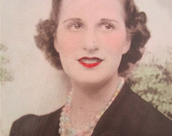 Hand Tinted Dreamy Eyed 1940's Beautiful Young Woman Photo Booth Photo - Free Shipping