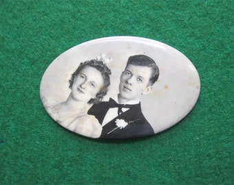 Sweet 1930's Celluloid Photo Pocket Mirror - Young Couple Gets Hitched - Free Shipping