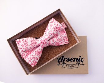 Floral bow tie | mens bow tie | pink bow tie | boys bow tie | toddler bow tie | vintage bow tie | womens bow tie | gifts for men