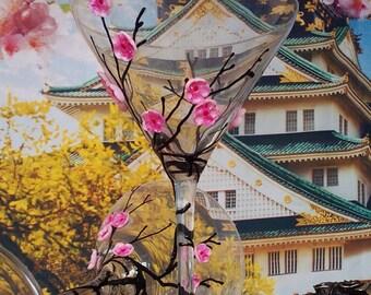 Sakura set of 2 Hand Painted martini glasses Cherry blossom theme