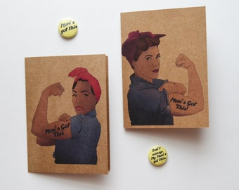 Mothers Day Card: Mom's Got This, Rosie the Riveter - Feminist Card