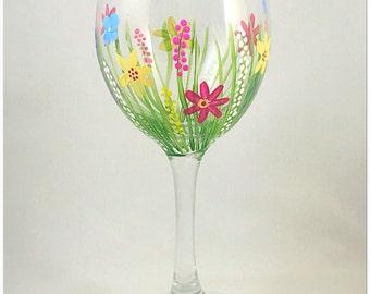 Wild flower painted wine glass