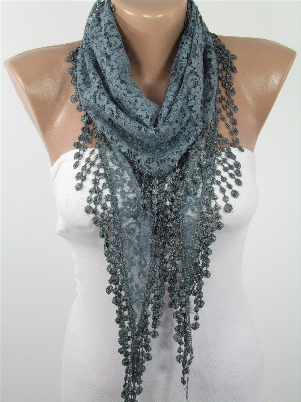 gray lace scarf fashion scarf lightweight summer scarf
