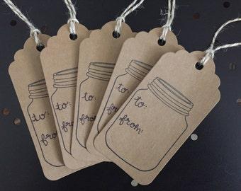 Mason Jar Gift Tags - Set of 5
