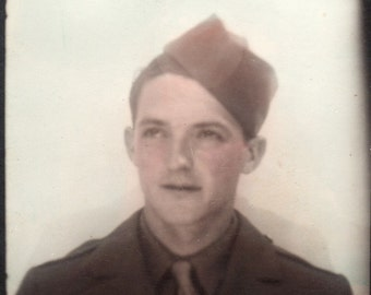 Soldier Boy Vintage Photobooth Photo ~ hand colored