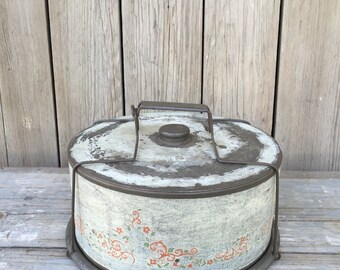 cake carrier and pie carrier, vintage tin cake carrier