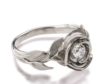 Rose Engagement Ring No.1 - 18K White Gold and Diamond engagement ring, engagement ring, leaf ring, flower, Beauty and the Beast Ring