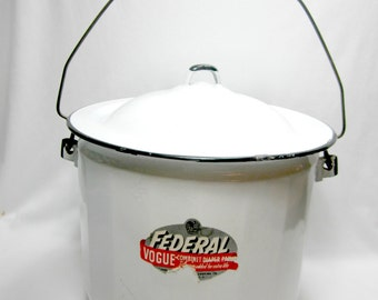 Federal Vogue Combinet Diaper Pail With Lid Baby Room Decor White Enamelware Metal Bucket Vintage