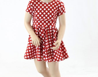 Toddlers and Girls Size 2T 3T 4T and 5-12 Red & White Minnie Polka Dot Cap Sleeve Skater Dress 151921