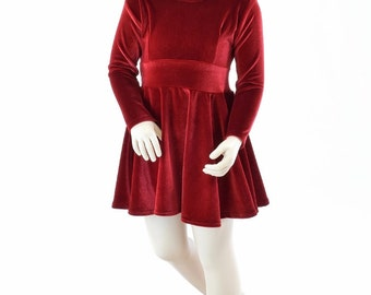 Toddlers and Girls Size 2T 3T 4T and 5-12 Red Stretch Velvet Long Sleeve Fit and Flare Skater Dress  151964
