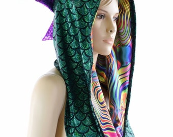 Reversible Green Dragon Festival Hood with Tropical Swirl Lining & Purple Fish Scale Spikes *NEW STYLE*  Festival Rave Hood   152274