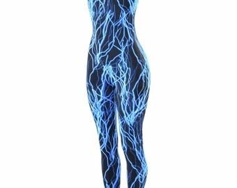 Neon UV Glow Blue Lightning Print Sleeveless Spandex Catsuit 152279