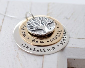 Family Tree Necklace for Mom, Family Tree Grandmother Necklace, Grandma Necklace, Nana Necklace, Christmas Gift for Grandma, Mothers Gift