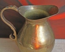 Brass Pitcher.  Vintage Brass Pitcher with Handle.  Brass Container Made in India.