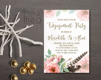 Engagement Invitation Printable, Floral Engagement Party Invitation, Spring Summer Engagement Invitation, Boho Engagement Invitation