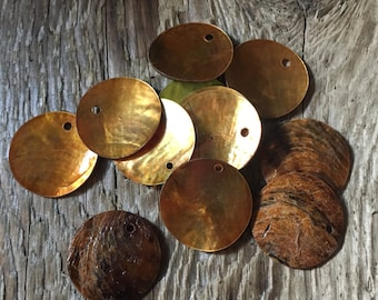 Mussel Shell Disc Drops, Focal - Polished Front, Natural Back - Amber Brown - 20mm - Top Drilled Front - Dyed - 12 Shells per Order
