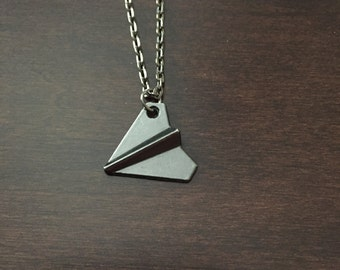One Direction Harry Styles Paper Airplane Necklace Black, Airplane Necklace, Airplane Jewelry, Airplane Pendant, Airplane, Plane Necklace