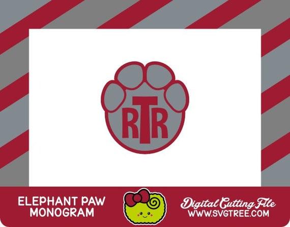 Paw Prints Monogram Svg: Elephant Monogram Paw Print Alabama SVG Files DXF Files By