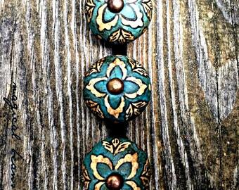 Vintage Inspired Drawer Knobs Teal Blue Drawer Pulls Floral Dresser Knobs Round Dresser Pulls Ceramic Drawer Knobs Decorative Drawer Pulls