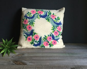 Needlepoint Pillow / Vintage Bird and Botanical Needlepoint Pillow