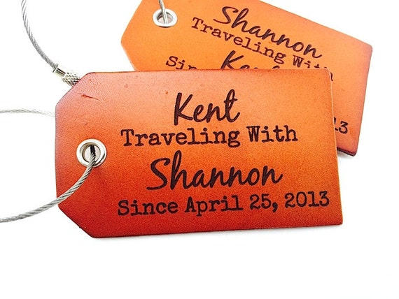 Personalized Luggage Tags Wedding Gift: Leather Luggage Tags Anniversary Wedding Gift Boyfriend Gift