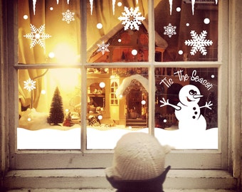 Christmas Decoration Snowflake Icicles, Snowman, Snow Drifts, Stickers for Windows, Walls, Mirrors etc….