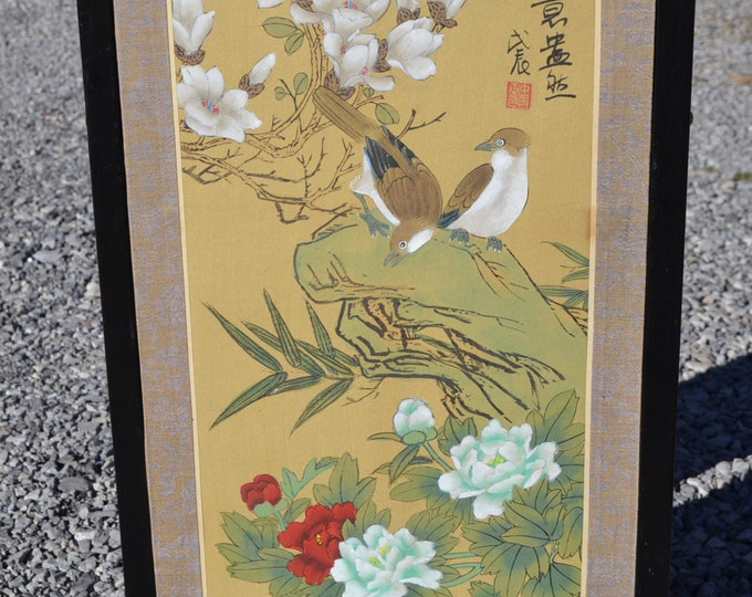 Vintage Asian Silk Painting Framed Signed Bird Flower Scene Brocade Matte Black Frame Gold Metal Details PanchosPorch